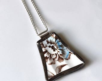 VALENTINE SALE Broken China Jewelry Pendant - Blue and Brown Floral