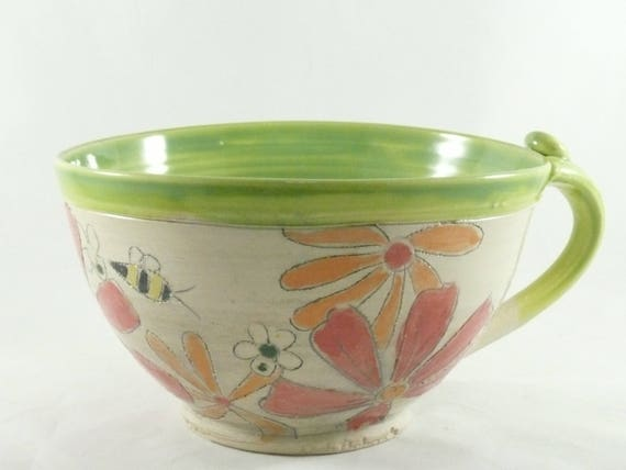 Handmade soup bowl with handle soup mug Latte cup with Save the Bees, Cappuccino Mug, Holds 24 ounces / Decorative Dish 874