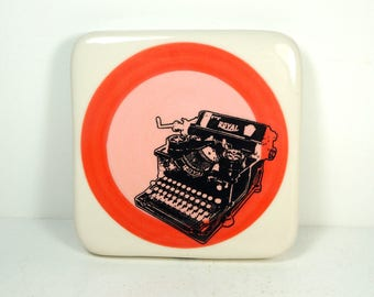 tile with red-orange & pink color block and a Royal typewriter print, ready to ship