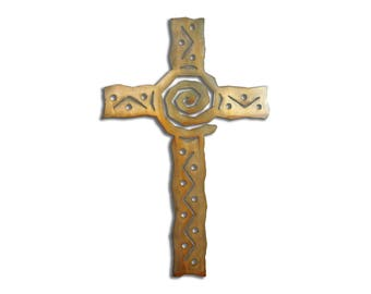 Southwest Spiral Cross Wall Art - Brown Rust Finish