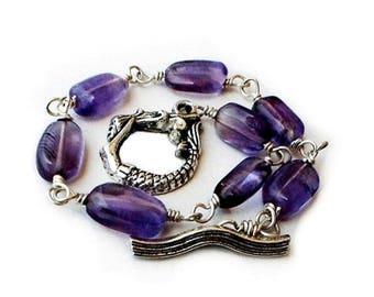Amethyst Bracelet Wire Wrap Silver Silver February Birthstone Mermaid bracelet