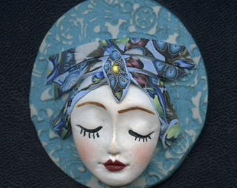 OOAK Polymer clay Detailed Caned hat face cab  Blue , Abstract ANWB 1
