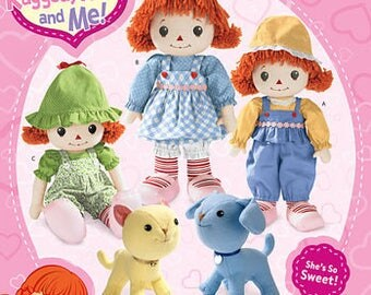 Simplicity 2387 Sewing Pattern Raggedy Ann and Me Cloth Dolls Cat Dog Stuffed Animals