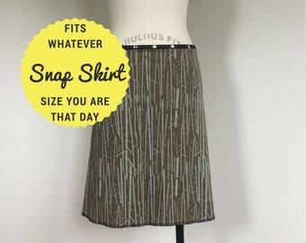 snap skirt, snap wrap skirt, brown skirt, adjustable skirt, Erin MacLeod, cute skirt, organic skirt, branches, trees