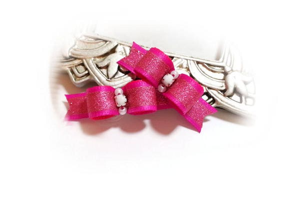 Dog Bows , Pink Girl Dog Bow, Fuchsia Pet Bow, Pet Grooming Bow, Small Dog Bows