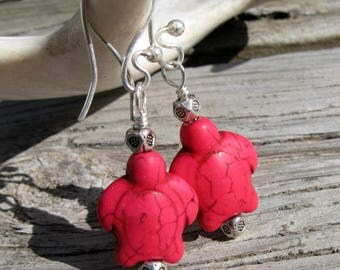 Stone Turtles Hot Pink and Silver Dangle Earrings