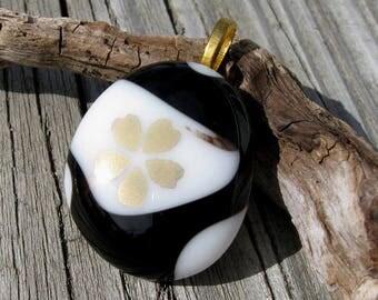 Black White and Gold Cherry Blossom Pendant