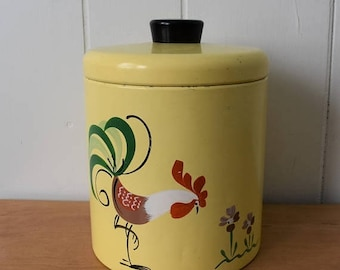LOVE SALE vintage Ransburg yellow rooster canister