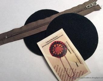 Circle Purse Blanks Dark Green Wool and Light Brown Zipper