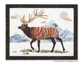 Lark Elk Paper Collage King of the Continental Divide