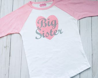 BIG SISTER T-shirt.... pink polka dots and sparkle silver, new baby - baby shower