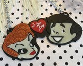 I love Lucy Ricky & Lucy Laser Cut Acrylic Necklace