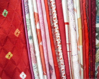 Red Mix Japanese Kimono Most Silk Fabric Scrap Grab Bag Pack Assortment for Crafts, Patchwork, Sewing, Quilting
