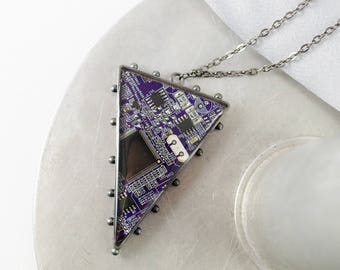 Circuit Board Necklace Purple, Recycled Computer Circuit Board Jewelry, Triangle Statement Necklace, Engineer Gift, Motherboard Necklace