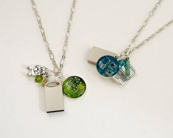USB Flash Drive Circuit Board Cluster Necklace, Data Storage Necklace, Computer Programmer, Computer Geek, Robot Necklace, Gift for Her