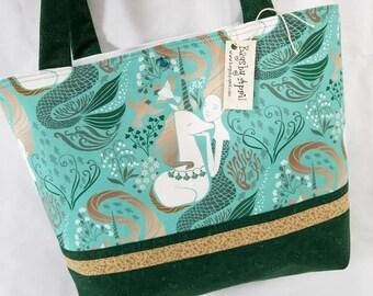 Mermaid and Unicorn Fairy Tale tote bag purse Aqua and Green