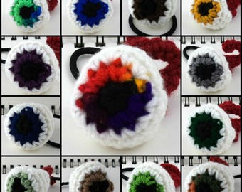 Crocheted Eyeball Ponytail Holder (choose your colors)
