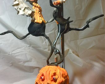 Primitive handsculpted Halloween Dancing Skelly and Bat papermache clay decoration ornament art sculpture finished