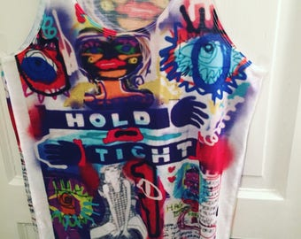 Hold Tight Graffiti Digital Collage Art Tank Top XS unique new Tribal Funky