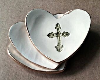 One Made to Order Ceramic Cross hearts First Communion Favors Baptism favor Communion Favors Christening