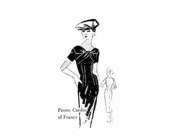 SALE 1950s Pierre Cardin Cocktail Dress Spadea S-338 Vintage Sewing Pattern Size 16 Bust 38 Sew-In Label Included Factory Folded