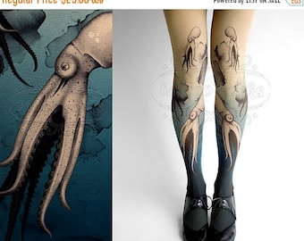 30%off/endsJUL23/ Closed Toe nude color one size Octopuses full length printed tights pantyhose