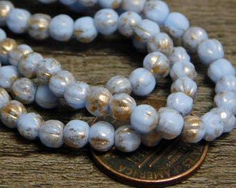 50pcs - 4mm - Czech Glass Beads - Round Beads - Fluted Round - 4mm Beads - Melon Beads - Periwinkle Blue - (4832)