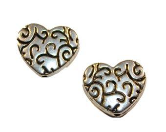 Swirl Heart Silver Beads
