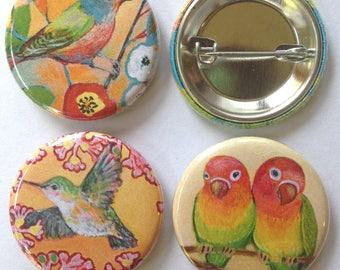Bird Art Buttons, set of 3, 1.25 in each, by Jenlo