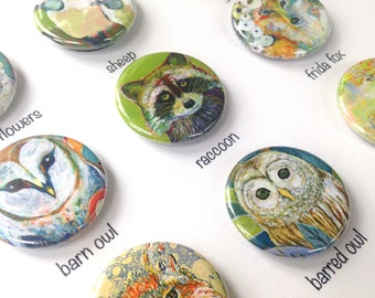 Animal Art Magnets, choose from 9 designs, 1.25 in, by Jenlo