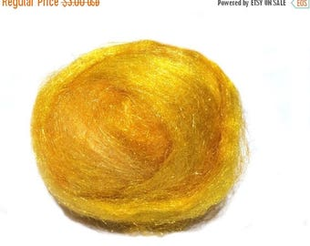 ROVING SALE Maize, Sparkly Firestar, Needle Felting, Spinning Fiber, roving, .5 oz,golden yellow, sun yellow similar to Icicle Top, ships fr