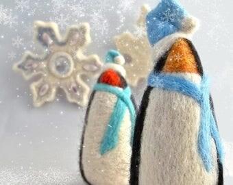 KIT SALE Needle Felting Kit, DIY gift, Craft Kit, Winter Penguin, wool ornament, White, blue, holiday decor, felt tree ornament, beginner, h