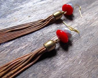 Tassel and Bead Earrings, Long Tassel Earrings, Aged Brass Tassel Earrings, Long Delicate Dangles, Lipstick Red and Moss Green Long Earrings