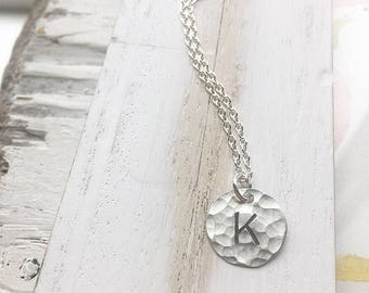 Hammered Initial Necklace in Sterling Silver Rustic Monogram Pendant Letter Necklace Initial Personalized Gifts for Women Delicate Jewelry