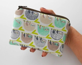 Small Zipper Coin Purse Little Zipper Pouch ECO Friendly Padded Zippered Pouch NEW Hanging Sloths
