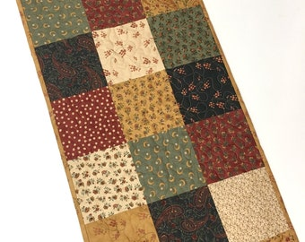 Rustic Table Runner-Primitive Table Topper-Patchwork-Handmade Quilted-Dining Table-Home Decor