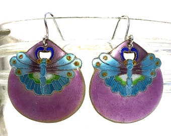 70s Sterling Silver & Enamel Butterfly Earrings Laurel Burch Shashi Thousand Flowers Chinese Export Cloisonne Dragonfly Moth Pierced Dangle