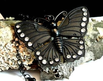 Black Butterfly Pendant Necklace 24 Inch Black Chain Black Metal and Rhinestone Butterfly Pendant Goth Style Necklace Butterfly Pendant