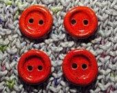 medium round edged stoneware button- red - set of four