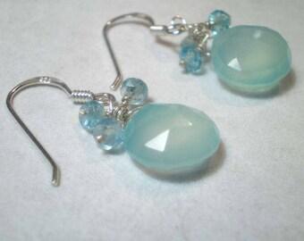 Aqua blue chalcedony teardrop and apatite gemstones cluster earrings in sterling silver