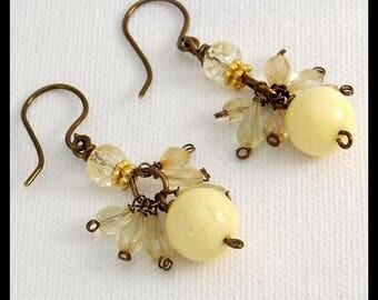 DANCING CITRINE - Faceted Citrine - Coral - Elegant1 of a Kind Handmade Earrings