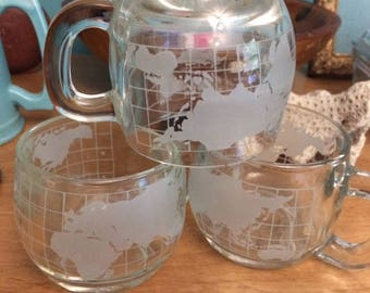 Nestle coffee mugs Vintage Chubby Heavy Duty Glass Hot Cups World Map Set of 4