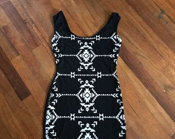 Black White Tribal Print bodycon dress sz XS by im.butterflycreations