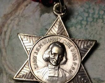 SALE TODAY French Saint JBM Vianney Cure D'Ars St Philomena Sterling Silver Vintage Star Shaped Religious Medal Pendant Hallmarked