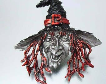 J.J. JJ Large Witch Halloween Pin Brooch
