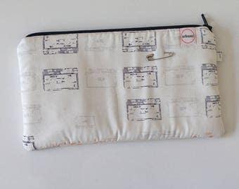 pencil zipper pouch, cash envelope, Eyeglass case, wallet, Cosmetic makeup bag, sunglasses, purse organizer, vintage cassette tapes, handbag