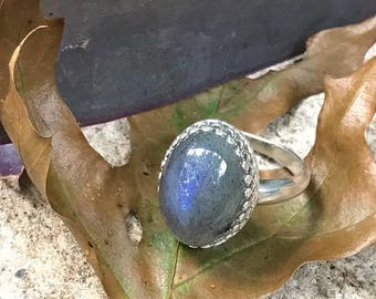 Handmade Sterling Silver Labradorite Antique Style Crown Ring- Bastet's Beads- Size 8
