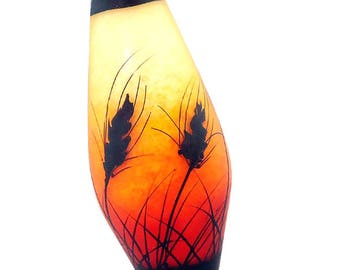 Wheat silhouettes on orange red fade, handmade lampwork glass bead focal by JC Herrell
