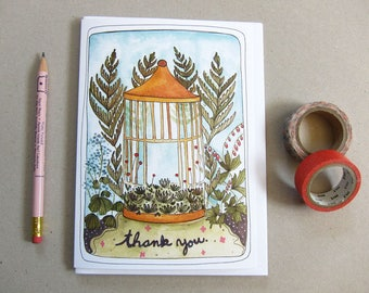 Thank You Card - Blank Thank You Card - Illustrated Card - Greeting Card - Floral Thank You Card - Bird Cage Thank You