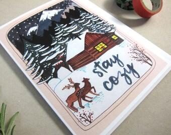 SALE - Holiday Card - Christmas Card - Blank Christmas Card Winter Scene Christmas Card - Cozy Cabin Card - Snowy Mountain Card - Stay Cozy